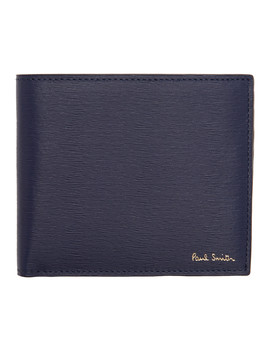 Navy Straw Grain Bifold Wallet by Paul Smith
