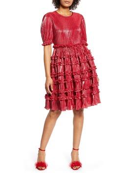 X Atlantic Pacific Ruffle Plissé Dress by Halogen®