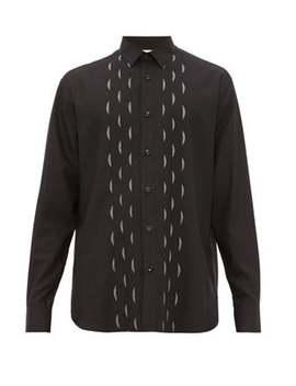 Lamé Accent Wool Shirt by Saint Laurent