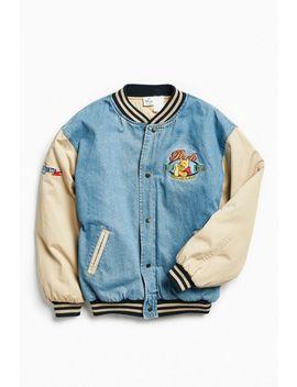 Vintage Winnie The Pooh Denim Varsity Jacket by Urban Outfitters Vintage