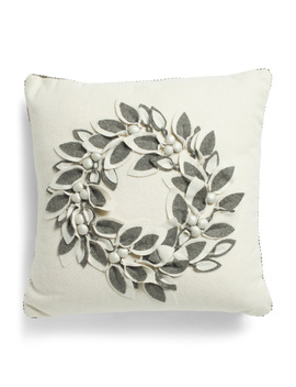 20x20 Wool Blend 3d Felt Wreath Pillow by Tj Maxx