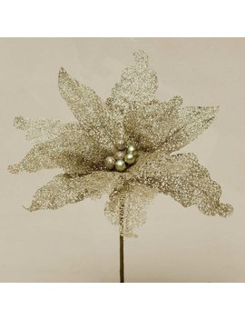 Decorative Glitter Poinsettia Stem by The Holiday Aisle