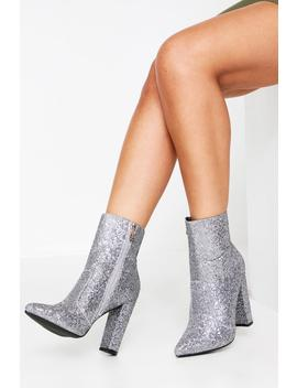 Diamante Ankle Block Heel Boot Diamante Ankle Block Heel Boot by Misspap
