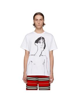 White Portrait Print T Shirt by Loewe