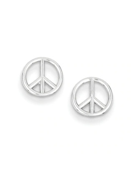 Peace Sign Stud Earrings In 14 K White Gold by Zales