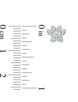1/10 Ct. T.W. Diamond Paw Print Stud Earrings In 10 K White Gold by Online Exclusive Brilliant Value