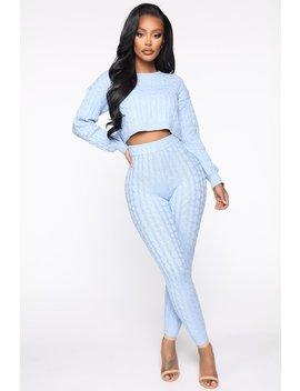Sweater Sweetie Pant Set   Light Blue by Fashion Nova