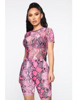 Slither Bodysuit Set   Neon Pink by Fashion Nova