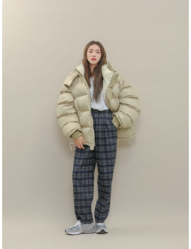 Pleated Loose Fit Check Slacks by Stylenanda