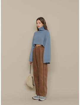 High Waist Loose Corduroy Pants by Stylenanda