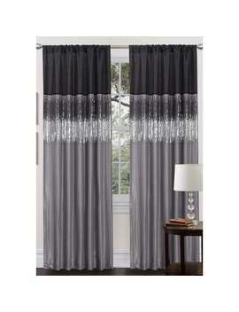 Silver Orchid Page Two Tone Faux Silk 84 Inch Night Sky Curtain Panel   84 X 52   Black/Grey by Silver Orchid