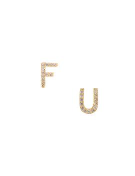 F U Huggie Set In Gold by Joolz By Martha Calvo