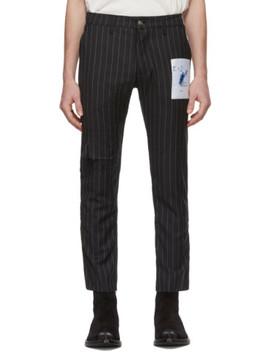 Black Pinstripe Patchwork Trousers by Enfants Riches DÉprimÉs