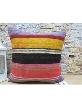 Kilim Pillow / Multicolor Kilim Pillow / 18x18 Handwoven Pillow / Throw Pillow / Tribal Pillow / Turkish Pillow / Wool Pillow Code 3103 by Etsy