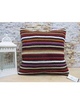 Kilim Pillow / Organic Kilim Pillow / 18x18 Anatolian Pillow / Throw Pillow / Striped Pillow / Turkish Pillow / Wool Pillow Code 2776 by Etsy
