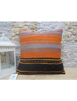 Kilim Pillow / Organic Kilim Pillow / 18x18 Bohemian Pillow / Throw Pillow / Striped Pillow / Turkish Pillow / Wool Pillow Code 2868 by Etsy