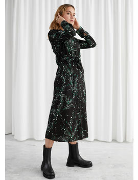 Floral Open Collar Belted Midi Dress by & Other Stories