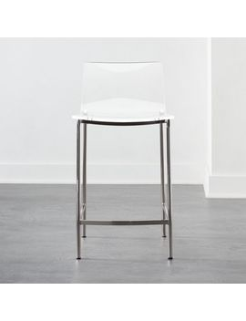 "Chiaro Clear Counter Stool 24"" Nickel by Crate&Barrel"