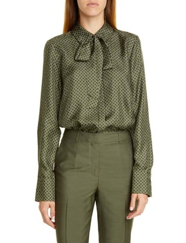 Diana Tie Neck Print Silk Blouse by Lafayette 148 New York