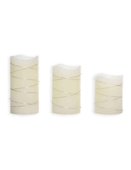 Candle Impressions® 3 Pack Pillar Candle With String Lights In Cream by Bed Bath And Beyond