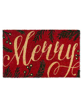 "Design Imports Merry 18"" X 30"" Coir Door Mat In Red by Bed Bath And Beyond"