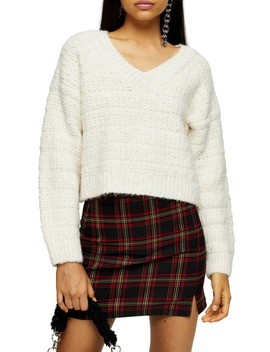 Self Stripe V Neck Sweater by Topshop