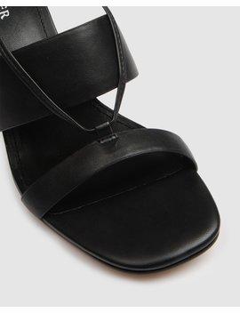 Defence High Sandal Black Leather by Jo Mercer