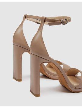 Taurus High Heel Sandals Beige Leather by Jo Mercer