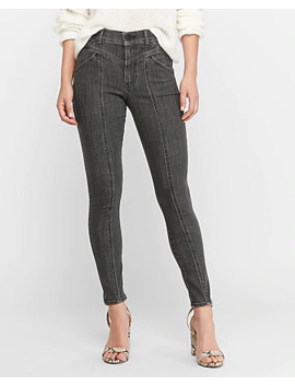 High Waisted Hyper Stretch Black Seamed Jean Ankle Leggings by Express