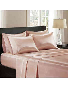 Madison Park Essentials Satin Solid Full Sheet Set In Purple by Bed Bath And Beyond