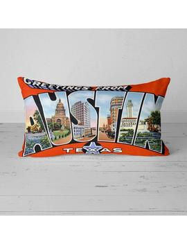 Austin Texas Tx Pillow Vintage Greetings From Large Letter Postcard 20x12 Throw Pillow With Insert Retro Travel Gift Souvenir by Etsy
