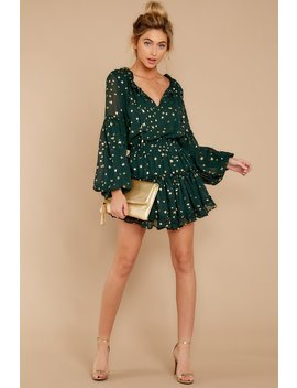 Seen Around Town Green Star Print Dress by Buddy Love