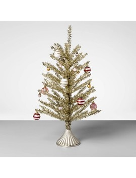 "24"" Tinsel Christmas Tree With Ornaments Gold/Red   Opalhouse™ by Shop This Collection"