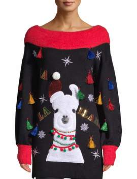 Holiday Time Women's Llama Ugly Christmas Tunic Sweater by Holiday Time