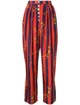 Floral Striped Kimono Trousers by Raquel Allegra