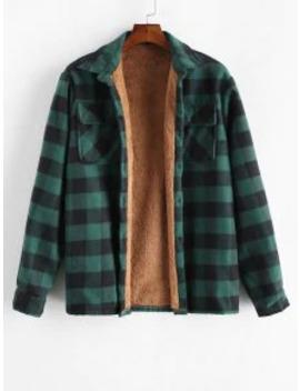 Popular Zaful Chest Pocket Plush Button Plaid Jacket   Deep Green L by Zaful