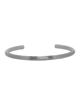 Silver Fine Stripes Bangle Bracelet by Saint Laurent