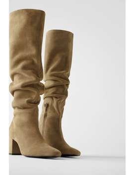 Split Suede Mid Heel Boots by Zara