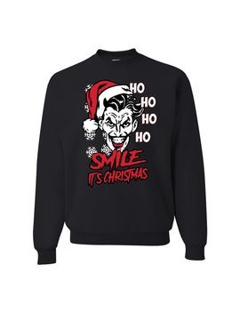 Joker Smile It's Christmas Funny Ho Ho Ho Joke Comic Book Xmas Mens Ugly Christmas Sweater by Wild Bobby