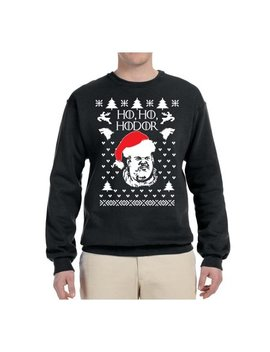 Ho Ho Hodor Go T Ugly Christmas Sweater Mens Christmas Graphic Crewneck Sweatshirt by Wild Bobby