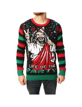 Ugly Christmas Sweater Men's Jesus Is The Life Of The Party Sweater by Ugly Christmas Sweater