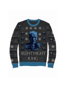Game Of Thrones Mens Gray Silent Night King Christmas Holiday Sweater by Game Of Thrones