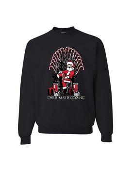 Christmas Is Coming Funny Santa Iron Throne Candy Cane Mens Ugly Christmas Sweater by Wild Bobby