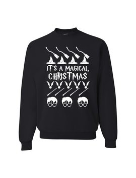 It's A Magical Xmas Broom Witch Wizard Glasses Mens Ugly Christmas Sweater by Wild Bobby