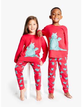 Excitable Edgar Children's Glow In The Dark Pyjamas, Red by John Lewis & Partners