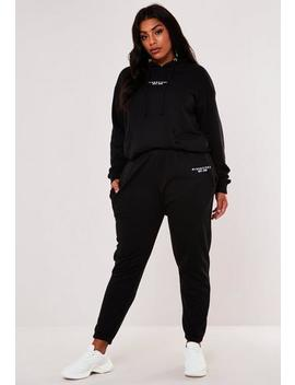Plus Size Black Missguided Hoodie And Joggers Co Ord Set by Missguided