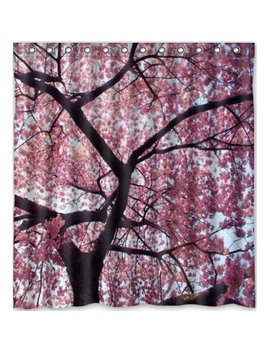 Green Decor Beautiful Cherry Blossom Tree Japan Cherry Blossom Art Waterproof Shower Curtain Set With Hooks Bathroom Accessories Size 66x72 Inches by Green Decor
