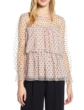 X Atlantic Pacific Flocked Tiered Tulle Top by Halogen®