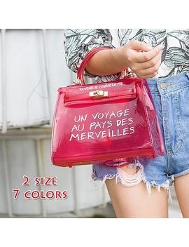 Newest Women Fashion Large Capacity Pvc Handbag Female Transparent Single Shoulder Bag Candy Bag 2 Size by Wish