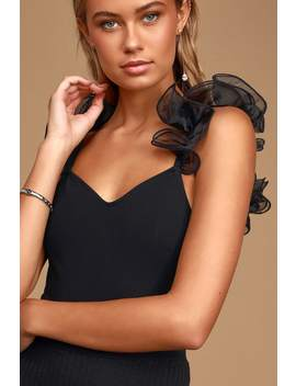 My Own Fairytale Black Ruffled Sleeveless Bodysuit by Lulus
